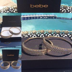 BEBE BLING! Rare NWOT Gold Crystal TripleLoop/wBox
